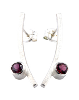 Katana Silver Handmade Earrings Natural Rhodolite Eugen Steier