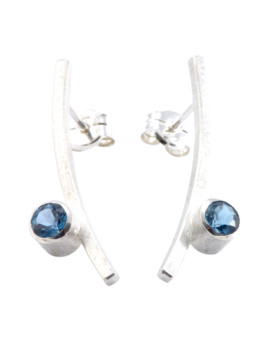 Katana Silver Handmade Earrings London Blue Topaz Eugen Steier