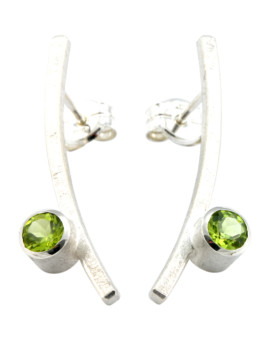 Katana Silver Handmade Earrings Natural Peridot Eugen Steier