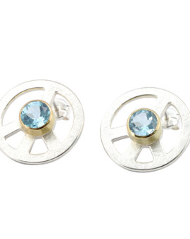 Peace Silver Handmade Earrings Sky Blue Topaz Eugen Steier