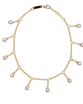 Ankle Chain Gold Ruffle Anklet Solitaire CZ Joubi London