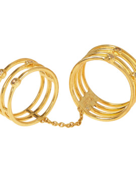 Double Cage Ring Yellow Gold CZ Joubi London